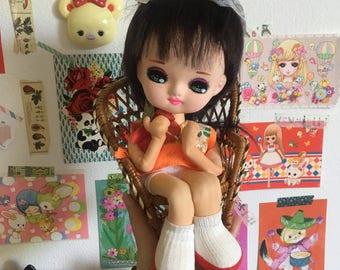 Cute Japanese vintage Orange Floral Sitting Pose Doll / Bradley Doll / Big Eyed doll from Japan