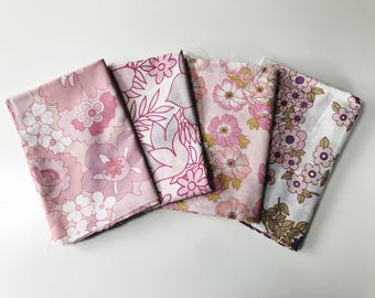 Set of 4 Vintage Fabric Fat Quarters in Pink