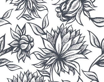 Cameron Floral Navy Removable Wallpaper