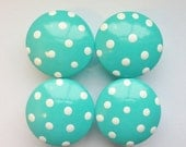 Black Friday Sale Blowout Hand Painted Bahama Blue Drawer Knobs with Polka Dots