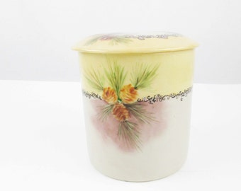 Fabulous, Hand-painted Humidor - 1930s - Artist Signature 'Dodd' - Pinecones and Pine Needles - Porcelain - Hand-painted