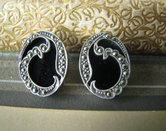 Vintage Art Deco Style Sterling Silver Black Onyx Marcasite Pierced Earrings