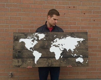 Wood Map Of The World...Huge Wood World Map....Rustic World Map...Travel...Laser Cut Wood...Nursery Decor...Rustic Home Decor...HAVENSPLACE