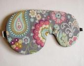 Paisley Sleep Mask, Adjustable comfortable eye mask, Gray Paisley Print Sleep Blindfold