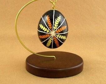 Pysanky Pisanki Ukrainian Polish Easter Egg Wheatstar Orange and Yellow Hand Decorated Chicken Egg