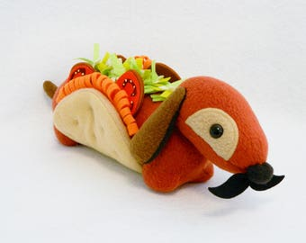 Stuffed taco wiener dog plush animal