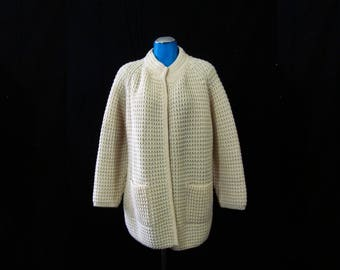 Vtg 70s Irish Hand Loomed Cream Heavy Pure New Wool Cardigan sz L