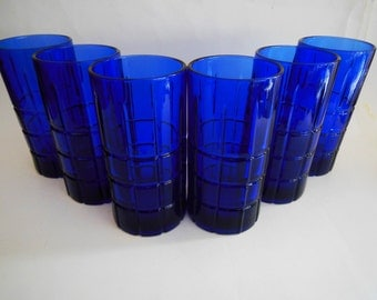Vintage Cobalt Blue Tumblers Cobalt blue Tartan Block Tumblers Anchor hocking Glass Co. offers considered