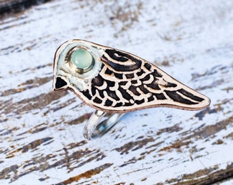 Celtic Bird Ring, Silver And Bronze Bird Ring, Animal Jewelry, Golden Bronze Bird Ring, Celtic Jewelry, Chalcedony Ring, B. Lagerberg