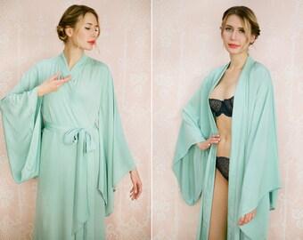 "CELADON. One custom ""Noguchi"" kimono robe in grey faux silk crepe. Long kimono robe Bridal robe Long silk lingerie with pockets Gift for her"