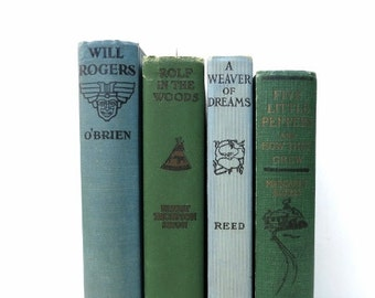 Blue Green Vintage Books/Book Decor/Home Decor/Wedding Decor/Instant Library/Book Bundle/Old Books/Decorative Books/Photo Prop