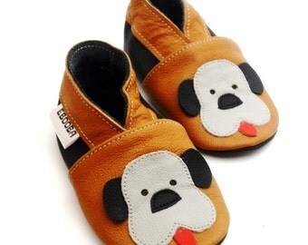 soft sole baby shoes infant handmade moccs gift doggy brown gray 2 3 bebes garcon fille cuir souple chaussons chaussures ebooba DG-9-BR-M-5