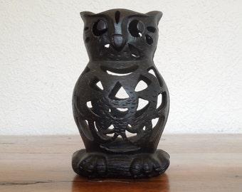 Vintage Cast Iron Black Owl Garden Votive Candle Holder