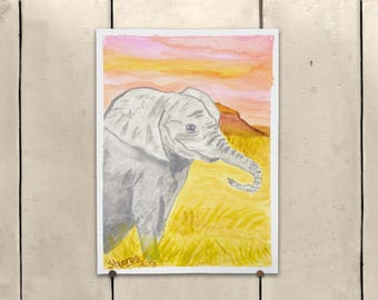 """Elephant Original Art 9x11.5"""" One of a Kind 100% of the profits go directly to artists with disabilities Item 91 Sharon M."""