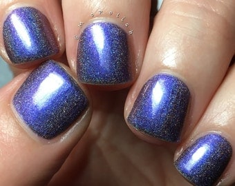 Nightmare At 20,000 Feet - Multi Chrome Chameleon - Linear Holographic - Cobalt Blue Nail Polish