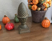 Vintage Cast Iron Acorn, Architectural Salvage, Finial, Paperweight, Bookend, Fall Decor, Rustic, [F]