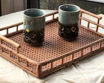 Vintage Bamboo Tray, Cane, Rattan Tray