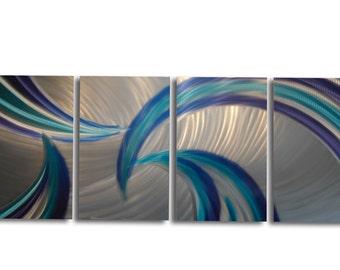 Metal Wall Art Abstract Aluminum Sculpture Modern Decor - Tempest Blues