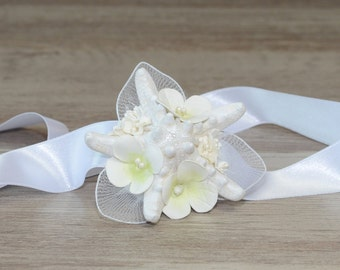 Starfish Corsage Mermaid Wrist Corsage flower Wrist Corsage Beach Wedding Tropical Destination Wedding Mother of Bride bridal  bridesmaid