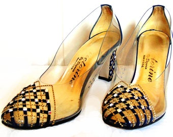 Vintage Clear Acrylic Pumps by Dezario, Size 8, Navy, Gold Metallic, Crystal Rhinestones, 3 inch heels, Prom, Formal, High Fashion, Retro