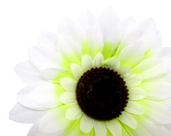 "6pcs Large Silk White Sunflowers Heads 5.5"" - Fabric - Artificial Flower Wedding & Home decor"