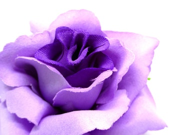 """3.75"""" Purple Silk Rose Heads (Pack of 4) - Fabric - Artificial Flower, Wholesale Lot, Wedding Decoration"""