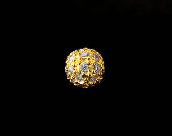 NEW! Gold Vermeil CZ Bead 6mm Round Cubic Zirconia Textured Bead