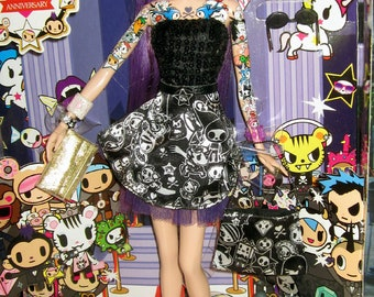 OOAK Reroot Repaint 10th Anniversary Tokidoki Purple hair platinum black skirt