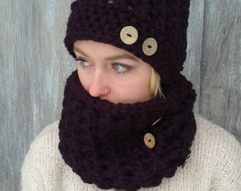 Hat and Cowl Set/Wool Blend/Winter set/Cozy Winter Hat and Cowl/Color Wine