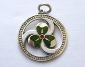 Antique-Solid Silver & Enamel Irish Shamrock Watch Fob Pendant-Birmingham-circa 1919