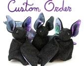 Custom Order - Galaxy Bat Plush Toy, Stuffed Animal Bat, Plush Toy - Chose Your Colors