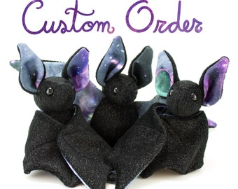 Custom Order - Galaxy Bat Plush Toy, Stuffed Animal Bat, Plush Toy - Chose Your Colors