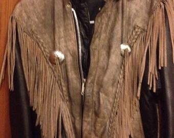 Distressed Leather Vintage Bomber Jacket , size Medium