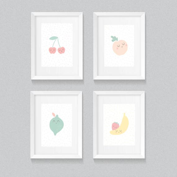 Set of 4 Sweet and soft Fruit Mid Century Modern Nursery Pastel Polkadots Playroom Boy Girl Graphic Art  Print - Digital Instant Download