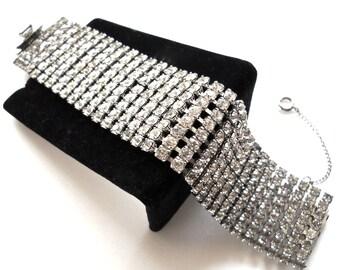 Vintage Rhinestone Hollywood Glam  Eight Rows Wide High End  Bracelet 1950s Runway Bridal Wedding Gift