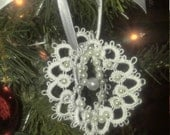 3-D tatted snowflake doily ornament with pearls