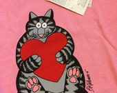 Kliban Cat shirt size L scoop neck tabby with red heart crazy shirts tee rose dyed