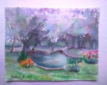 Watercolor Landscape Painting Nature Painting Small Art Original Watercolor Painting Watercolor Artwork Nature Gift Unique Aquarelle Art