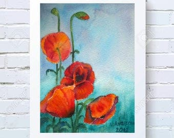 Red Poppy Gift for Mom Floral Watercolor Poppies Painting Small Art Aquarelle Artwork Watercolor Original Painting Flowers Watercolor Gift