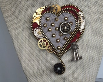 Steampunk Zipper Heart Red with Grey and Brass Studs and Metal Flowers and Cogs!