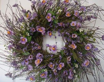 Spring wreath, spring decoration, summer wreath, front door wreath, housewarming gift, outdoor wreath, purple wreath, door wreath