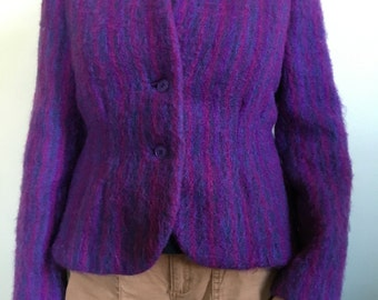 Wool Purple Muted Stripe Jacket Vintage Snipped Waist Jacket Size 4-6