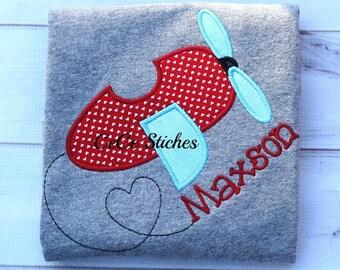 Love Plane Boy's Valentines shirt - Valentines custom shirt