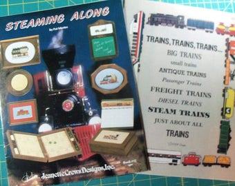 Cross Stitch Train Books,Steaming Along,Trains,Trains,Trains - FREE SHIPPING