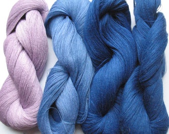 Linen Yarn Pink Purple Azure Blue 380 gr (13.3 oz ), Cobweb / 1 ply, each hank contains approximately 2700 yds