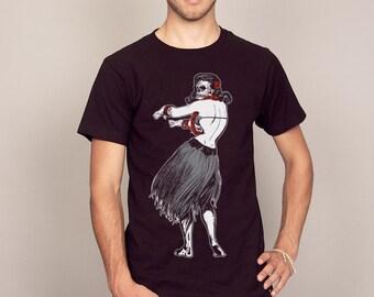 Dark Rocket Factory Hula Girl Cool Fashion T-shirt Black Men's Sizes