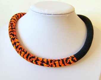 Tiger Modern necklace - Bead Crochet  necklace - Statement necklace - Beadwork Jewelry - wild animal necklace - safari necklace
