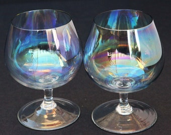 RARE Dorothy Thorpe Mid Century Bubble Clear Iridescent Brandy Snifter Glasses Vintage Barware Set of 2 60s