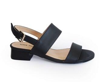 Black sandals, Womens low heel strap sandals, Strappy shoes, Leather sandals, Black strap sandals, Summer sandals, Office sandals