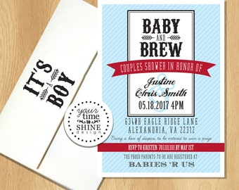 Baby and Brew Invitations with Custom Printed Envelopes
